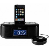 ILUV IMM153 Desktop Alarm Clock with Bed Shaker for your iPod - Black Large display / Auxiliary in / Plays and charges your iPod / Dual alarm clock / FM radio
