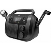 jWIN JXM125 AM/FM Weather Band Radio. Supports NOAA / 5 bright LEDs for flashlight / Clock display with alarm function / Charge other electronic devices / Rechargeable Battery