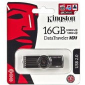 Kingston DataTraveler 101 G2 16GB USB 2.0 Flash Drive (Black/Silver)