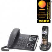 KX-TG9391T  2-Line DECT 6.0 Expandable Digital Corded/Cordless Answering System with 1 Handset, Works During Power Outage, Black Metallic