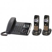 KX-TG9392T DECT 6.0 Phones 2-Line DECT 6.0 Expandable Digital Corded/Cordless Answering System with 2 Handsets, Works During Power Outage, Black Metallic